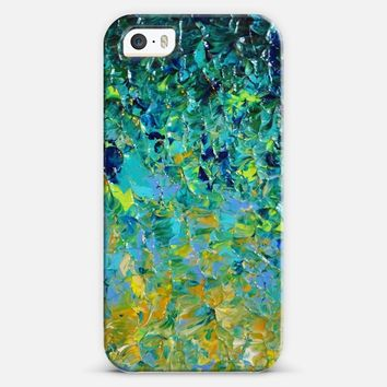 BEAUTY BENEATH THE SURFACE - Bold Deep Emerald Jade Green Ochre Yellow Turquoise Blue Ocean Waves Ombre Textural Abstract Painting iPhone 5s case by Ebi Emporium | Casetify
