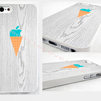 pastel turquoise ice cream cone, iphone cover iPhone 4,4s 5,5s 5C,6,6 plus. no real wood