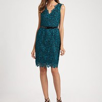 Aidan Mattox - Belted Lace Dress