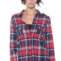 Cozy Plaid Flannel Top - Red