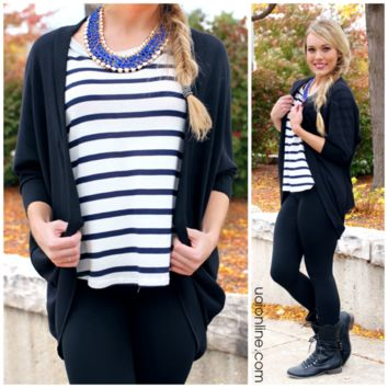 Beautifully Basic Cardi - Black - BLACK /