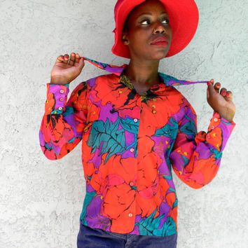 Vintage 70s Blouse - Sheer Peekaboo Gauze Flower Power Button Up Top w/ Psychedelic Floral Design in Red, Turquoise, Purple - Size 6 Small