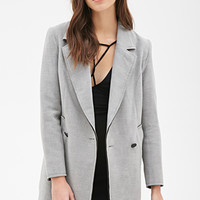 FOREVER 21 Oversized Longline Overcoat Grey