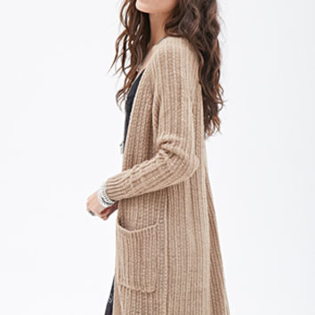FOREVER 21 Longline Loose-Knit Cardigan
