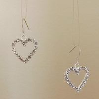 Rhinestone diamante heart earrings with sterling silver ear wires