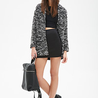FOREVER 21 Chunky Marled Knit Cardigan Black/Cream