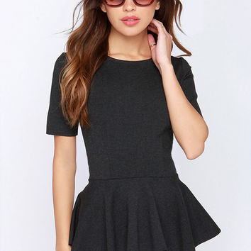 Dignified and True Charcoal Grey Peplum Top