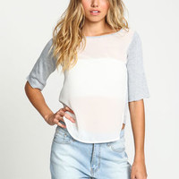 Sweater Knit Chiffon Contrast Blouse - LoveCulture