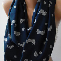 Dance of the Colors Collection... Little Grey Rabbits Patterned - Infinity - Loop - Circle - Elegant - Feminine - Summer - Shawl - Scarf