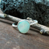 Genuine white opal sterling silver ring, precious gemstone, beaded ring band, minimalist forged artisan jewelry size 7 1/2