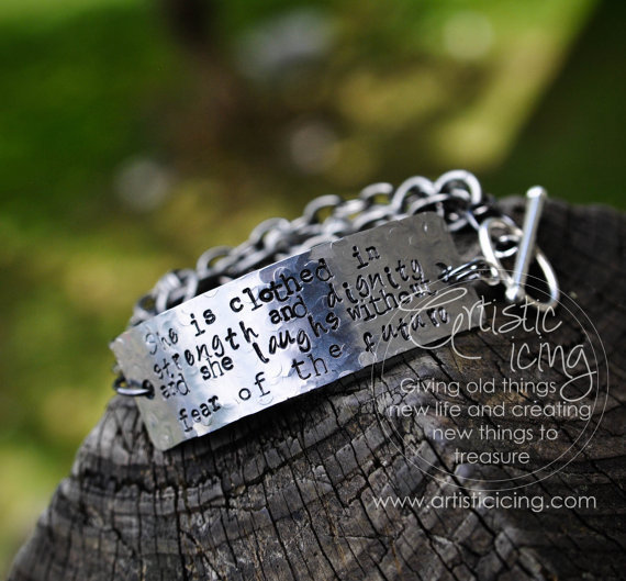 She Is Clothed With Strength And Dignity Bracelet: She Is Clothed In Strength And Dignity From Artisticicing On