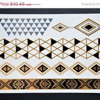 NEW! Metallic Gold Silver And Black Bracelet Armband Temporary Tattoo - Easy Application Metallic Tattoo - Great for any Outdoor Event!