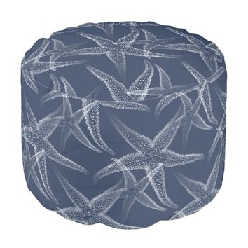 Starfish Navy Blue Beach Pouf Seat