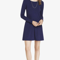 BLUE LONG SLEEVE ZIP BACK TRAPEZE DRESS from EXPRESS