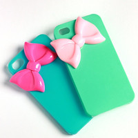 Mint and pink bow cellphone cover, iPhone Cover, cover for Android,trendy, iPhone 4s, iPhone 4,
