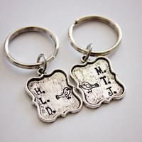 Lovebirds - Hand Stamped Personalized Key Chains - Couple Initials and Adorable Bird Stamp - Great Gift for Anniversaries and Birthdays