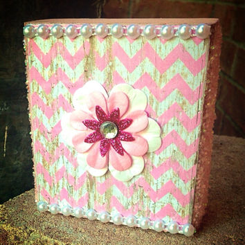 Pink Nursery Wood Art Bling Block Art with Chevron Print & Glitter---Sale!!!