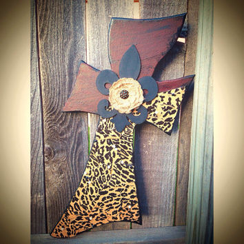 Wooden Rustic Cross Red Black Leopard Print with Fleur De Lis, Burlap Flower and Pearl Accents