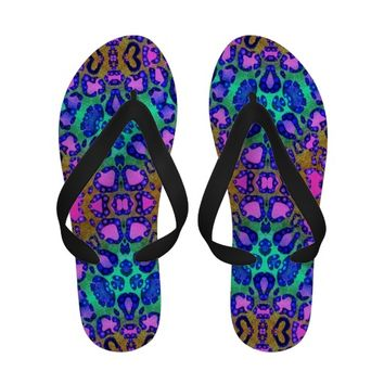 Animal Print Abstract Pattern Flip Flops