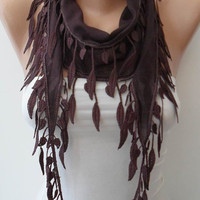 Brown-Dark Purple Scarf with Trim Edge - Summer Collection