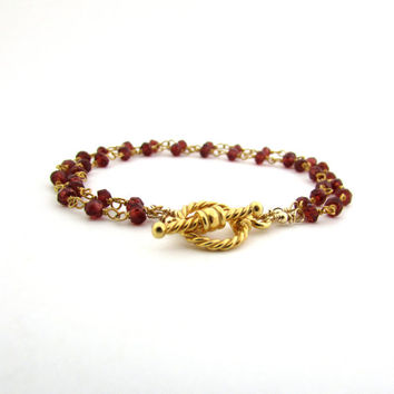 Red garnet bracelet, January birthstone jewelry, garnet double strand bracelet, wine red gemstone bracelet, gold vermeil garnet jewelry