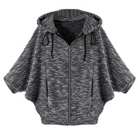 Gray Marled Hooded Coat With Batwing Sleeve