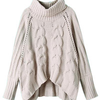 Cream Roll Neck Dipped Hem Cable Knit Sweater