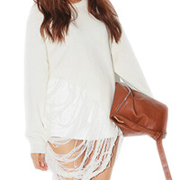 White Grunge Loose Jumper