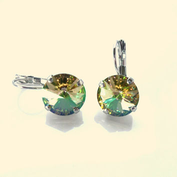 Swarovski crystal lever back earrings, 12mm large stone, round, luminous green, high sparkle crystal earrings,