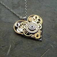 "Clockwork Heart Necklace ""Curiosity"" Elegant Industrial Heart Steampunk Necklace Mechanical Love Sculpture by A Mechanical Mind"