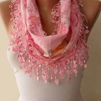 Pink Scarf with Pink Trim Edge - Flowered Fabric - Summer Colors