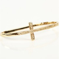 Gold Side Cross Palm Bracelet