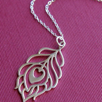 Large silver peacock pendant necklace