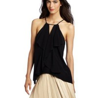 BCBGMAXAZRIA Women's Claudia Cascade Ruffle Halter Top: Amazon.com: Clothing