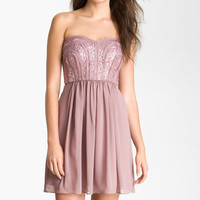 Max & Cleo 'Monica' Sequin Bodice Sweetheart Chiffon Dress | Nordstrom
