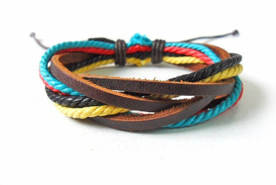 jewelry bangle leather bracelet ropes bracelet woven bracelet men bracelet women bracelet with leather and ropes woven SH-0224