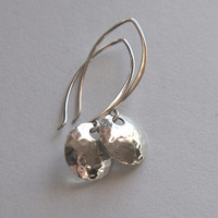 Long sterling silver hammered disc earrings