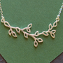 Silver branch with leaves pendant necklace