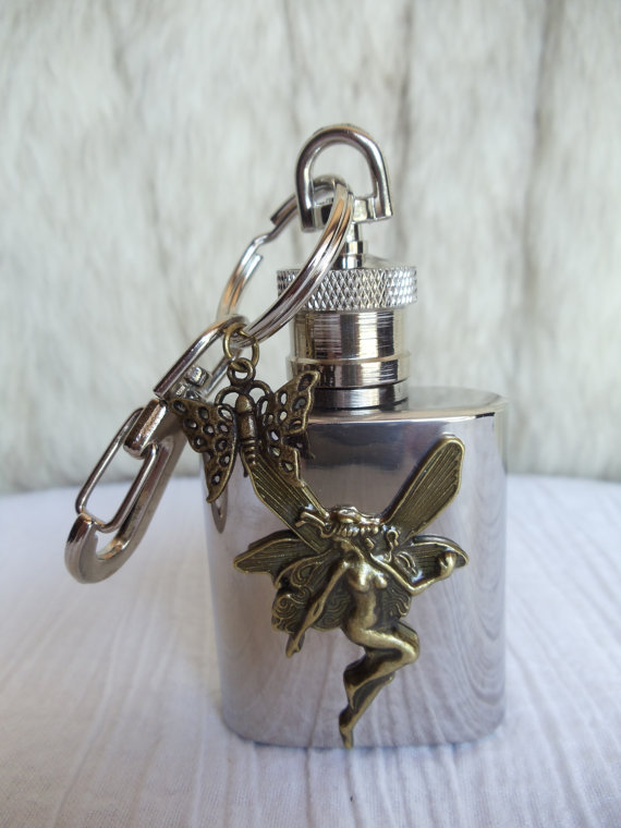 Mini flask key chain, key chain flask with mounted bronze fairy and butterfly charm