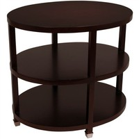 Espresso Wood Oval Side Table