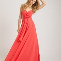 long strapless chiffon gown features sweetheart neckline and asymmetrically ruched bodice accented with flower detail at the center YSP1265