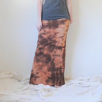 Boho Column Maxi Skirt Tie Dyed in Stretch Knit Cotton - Bohemian Extra Long Maxi Skirt - Wear 2 Ways - Sizes XS, S, M, L, XL