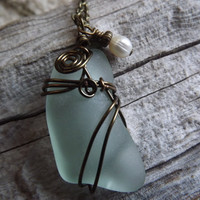 Pale Blue Sea Glass Wirewrapped Brass Copper wire, with Ivory Fresh Water pearl dangle