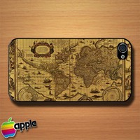 Vintage Map Books Letters Custom iPhone 4 or 4S Case Cover