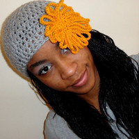 Clearance-Medium Crochet Linen Gray and Mustard Orange Fishnet Beret w/Flower-Blowout Sale