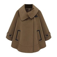 ZLYC Women Lady Fashion Woven Wool Winter Warm Cape Coat with Contrast Pockets