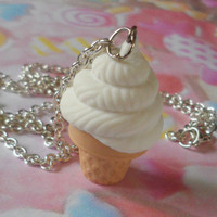Ice cream polymer clay necklace