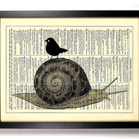 Hitching A Ride, Snail And Bird Repurposed Book Upcycled Dictionary Art Vintage Print Recycled Dictionary Page Beautiful Buy 2 Get 1 FREE