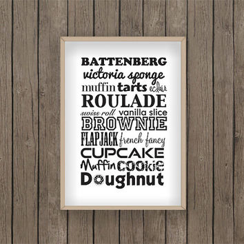 cake print food print kitchen print PDF digital printable bake baking biscuit