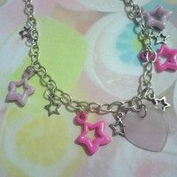 Pink heart and stars necklace